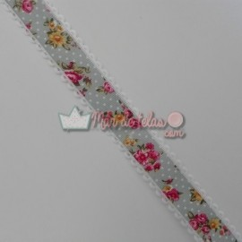 Cinta grosgrain flores 25mm