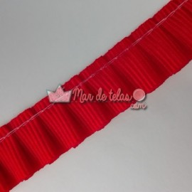 Plisado grosgrain rojo 14mm